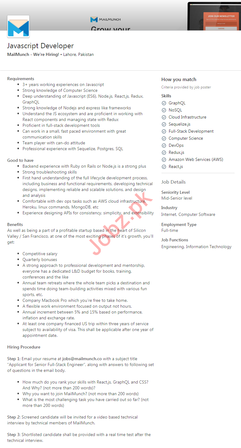 JavaScript Developer Job 2020 in Lahore