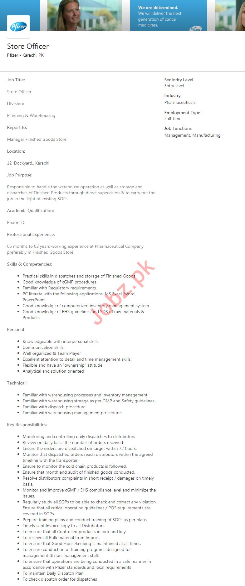Store Officer Job 2020 in Karachi