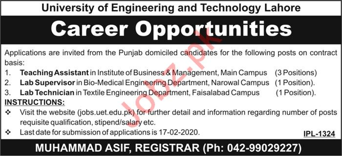 University of Engineering & Technology UET Lahore Jobs 2020