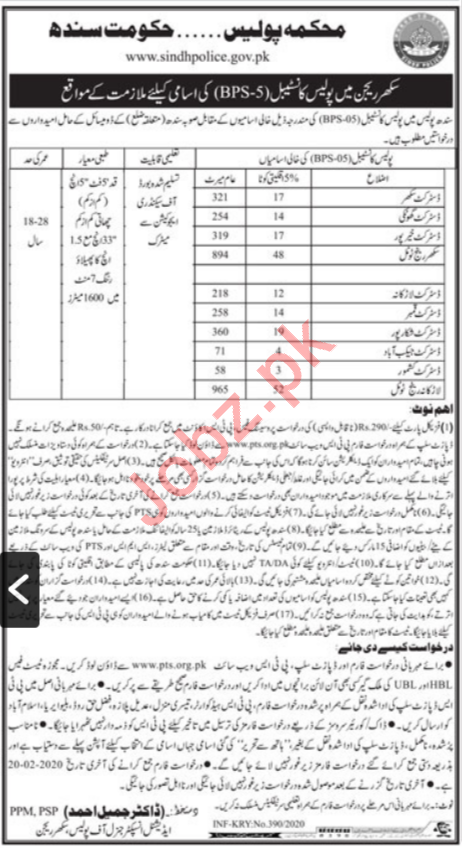 Sindh Police Department Sukkur Constable Jobs via PTS