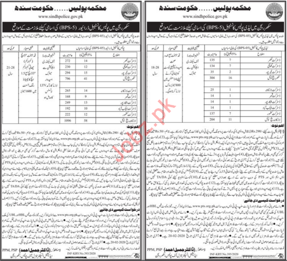Sindh Police Driver & Lady Constable Jobs for Sukkur via PTS