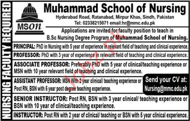 Muhammad School of Nursing Mirpur Khas Jobs 2020