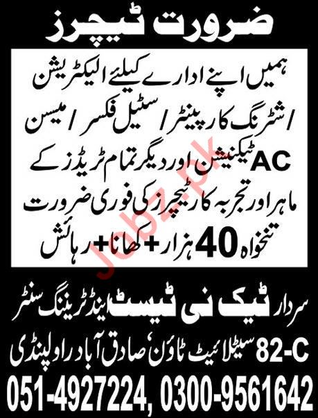 Teaching Staff Jobs in Sardar Techni Test & Training Center