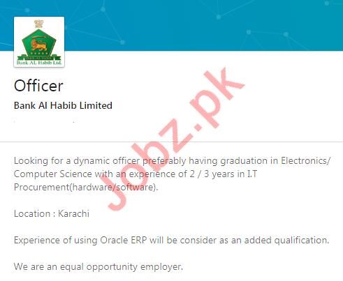 Bank Al Habib Limited Karachi Jobs 2020 for Bank Officer