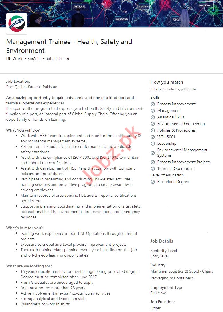 DP World Karachi Jobs 2020 for Management Trainee