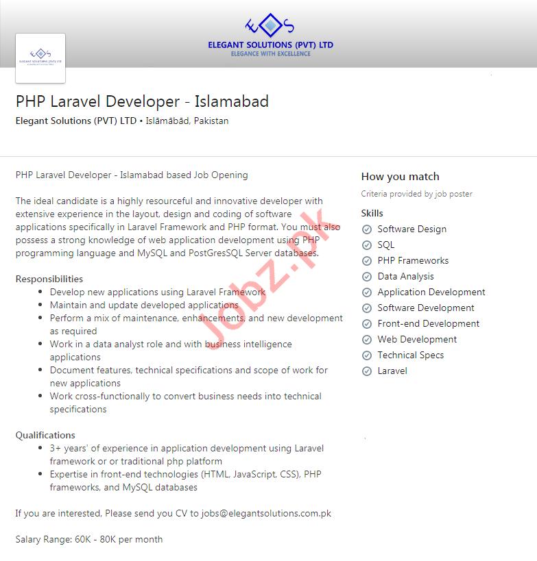 Elegant Solutions Islamabad Jobs for PHP Laravel Developer