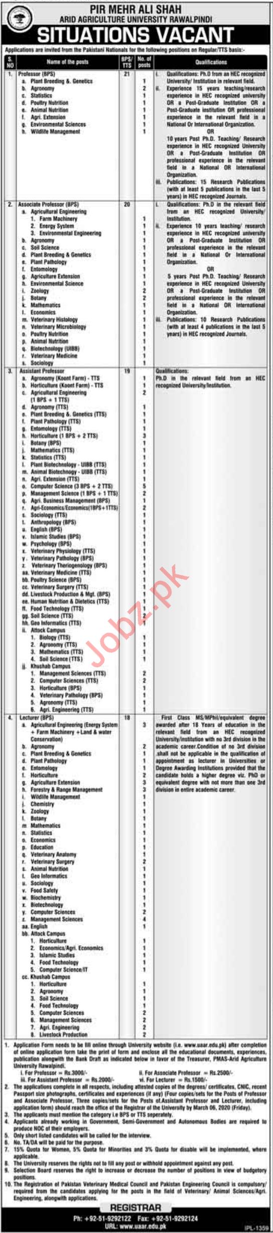 Pir Mehr Ali Shah Arid Agriculture University Jobs 2020