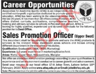 Association for Academic Quality AFAQ Jobs 2020 in Swat