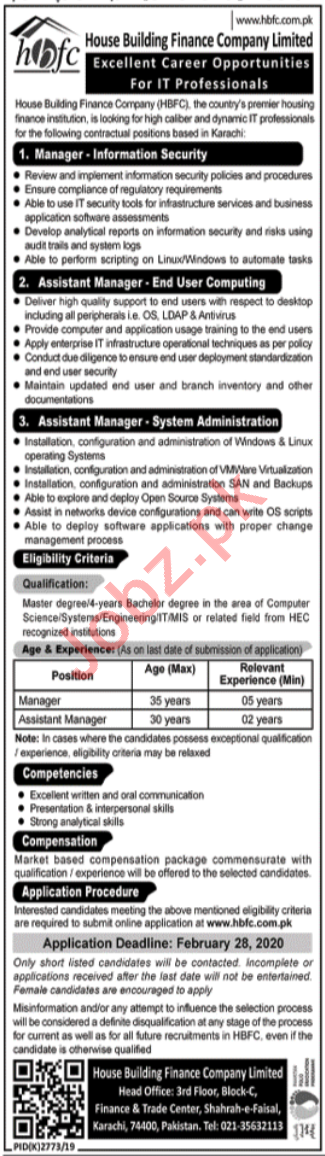 Housing Building Finance Company Limited HBFC Jobs 2020