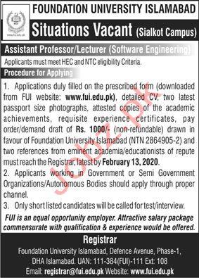 Foundation University Sialkot Campus Jobs 2020