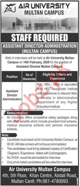 Air University Multan Campus Walk In Interviews 2020