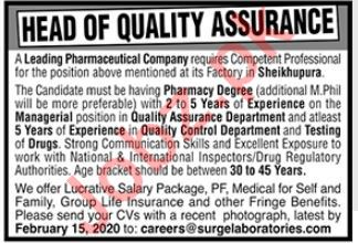 Pharmaceutical Company Jobs 2020 in Lahore