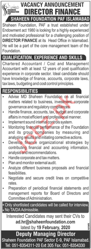 Shaheen Foundation PAF Jobs 2020 in Islamabad