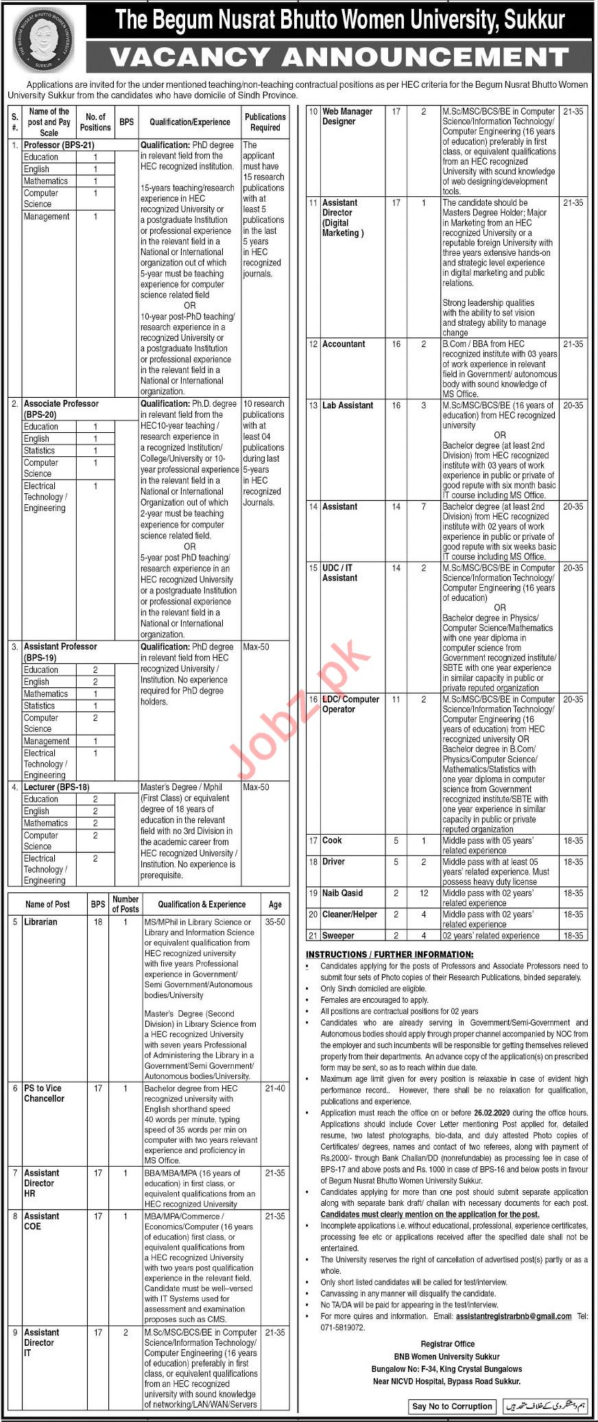 The Begum Nusrat Bhutto Women University Jobs 2020