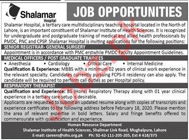 Shalamar Hospital Medical Staff Jobs 2020
