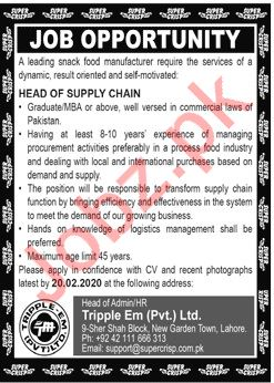 Head of Supply Chain Job 2020 in Lahore