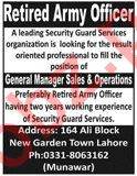 Retired Army Officer Job 2020 in Lahore