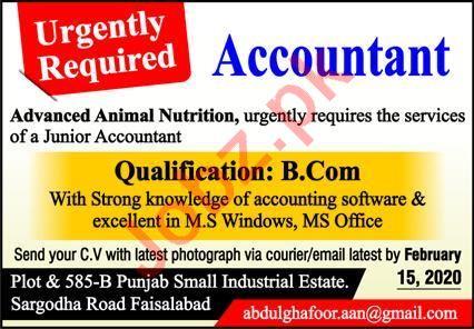 Advanced Animal Nutrition Jobs 2020 for Accountant