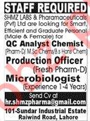 SHMZ Labs & Pharmaceutical Pvt Ltd Jobs For Lahore