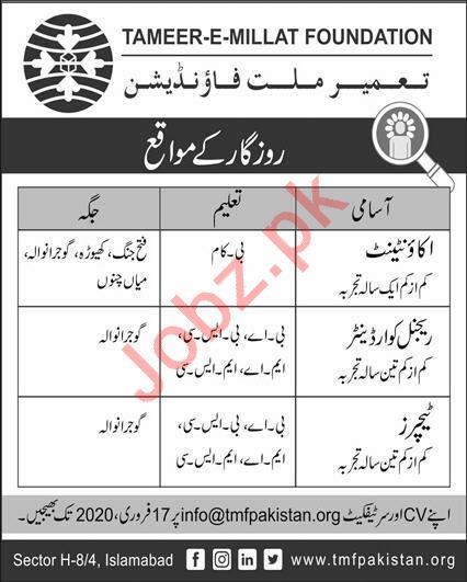 Tameer E Millat Foundation Jobs 2020