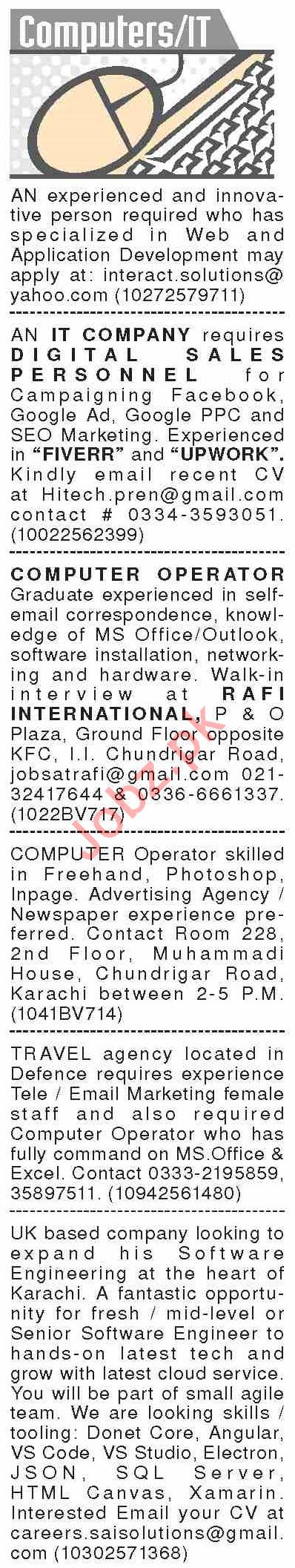 Dawn Sunday Classified Ads 9 Feb 2020 for IT Staff