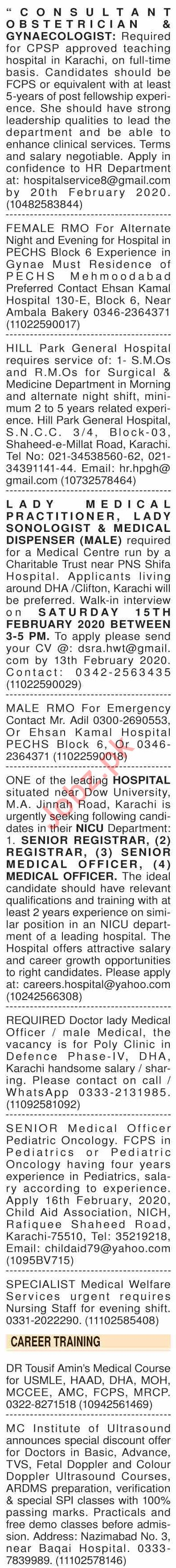 Dawn Sunday Classified Ads 9 Feb 2020 for Medical Staff