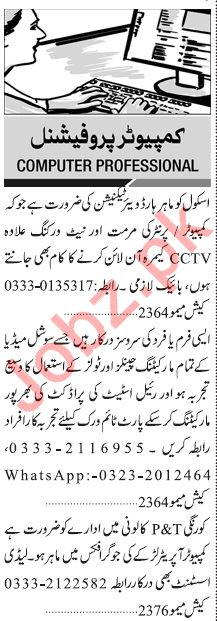 Jang Sunday Classified Ads 9 Feb 2020 for IT Staff