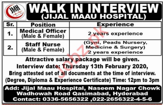 Jijal Maau Hospital Walk In Interviews 2020 in Hyderabad
