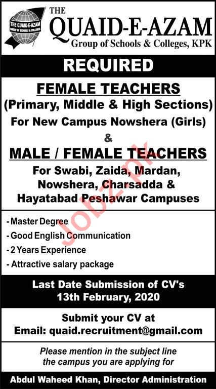 Quiad E Azam Group of School & Colleges Jobs in Peshawar