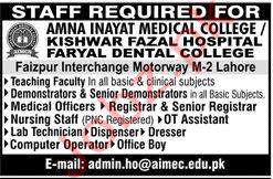 Amna Inayat Medical College Lahore Jobs 2020