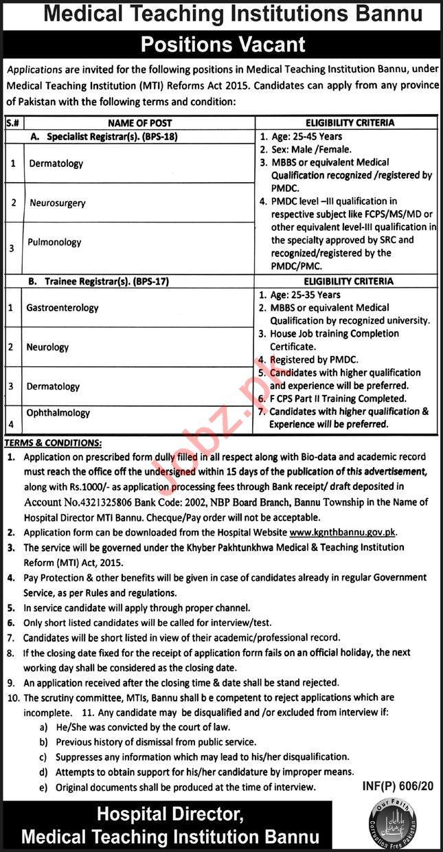 Medical Teaching Institution MTI Bannu Jobs 2020