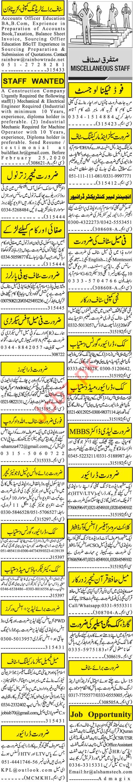 Jang Sunday Rawalpindi Classified Ads 9 Feb 2020