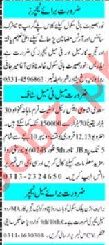 Mashriq  Sunday Classified Ads 9 Feb 2020 for Teachers