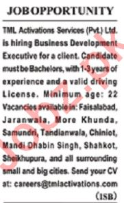 TML Activation Services Lahore Jobs 2020