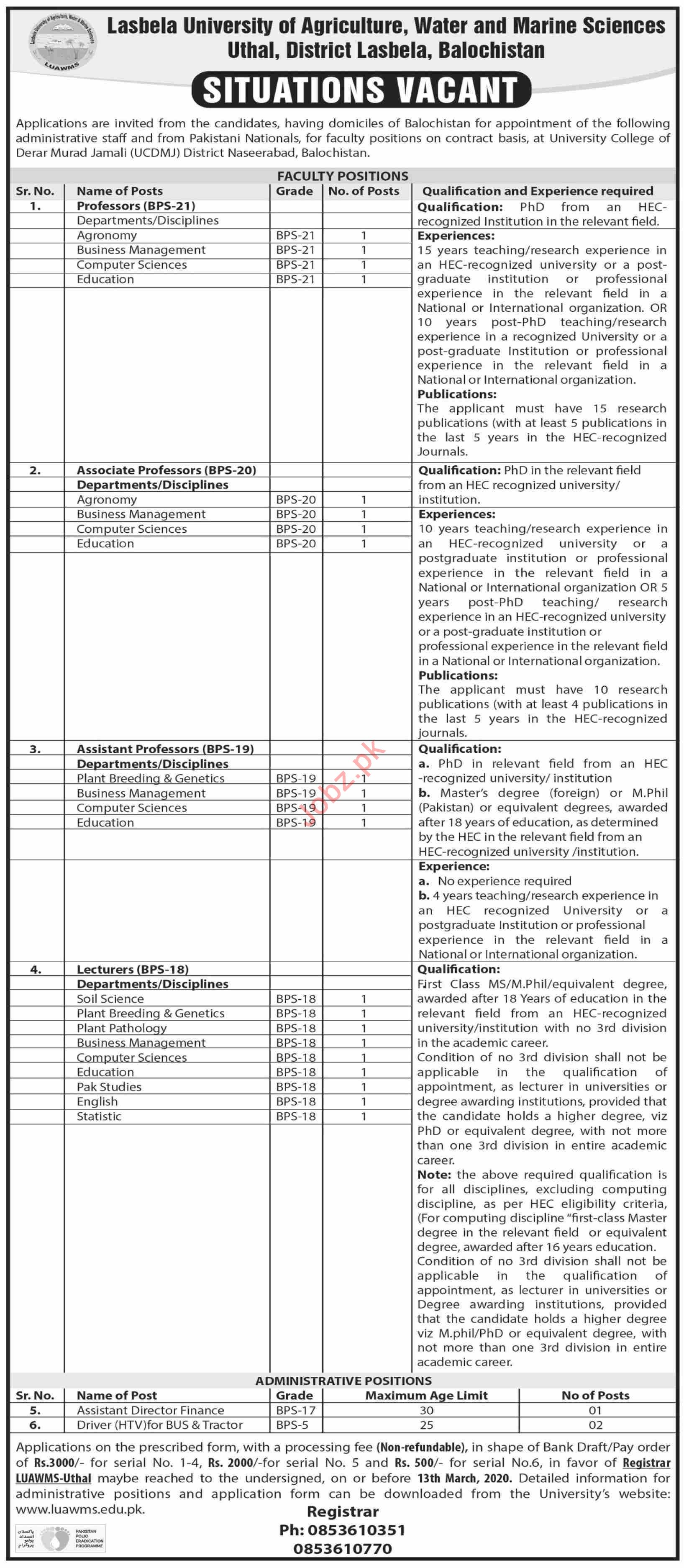 Lasbela University of Agriculture LUAWMS Jobs 2020