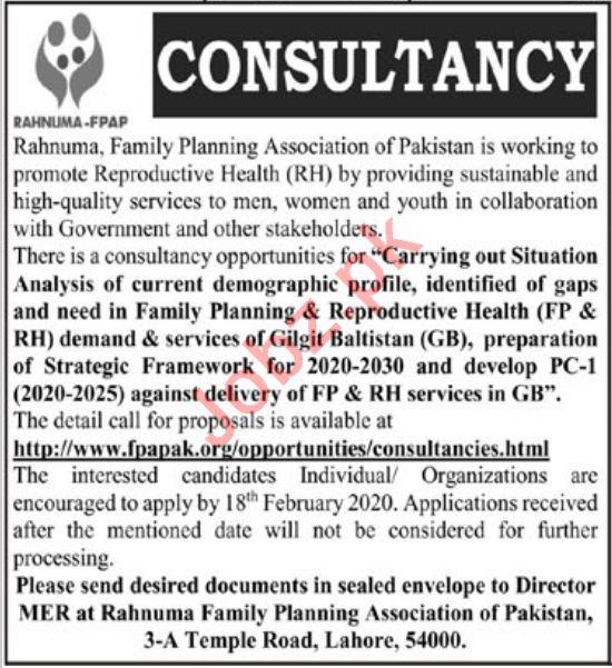 Rahnuma FPAP Lahore NGO Jobs 2020 for Consultants