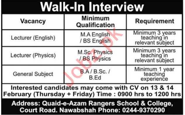 Quaid-e-Azam Rangers School & College Walk In Interviews