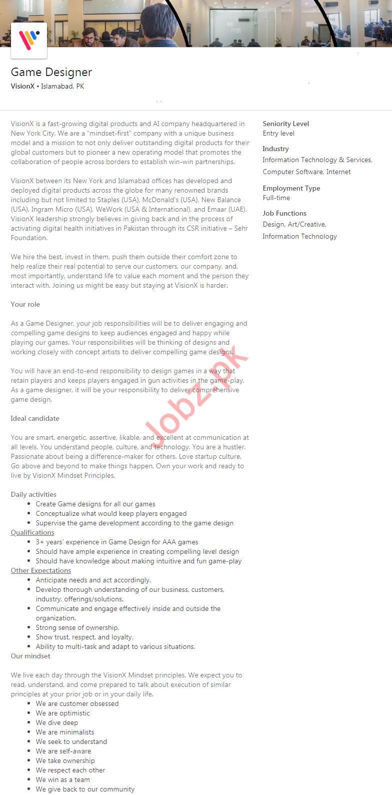 Game Designer Jobs in VisionX Technologies