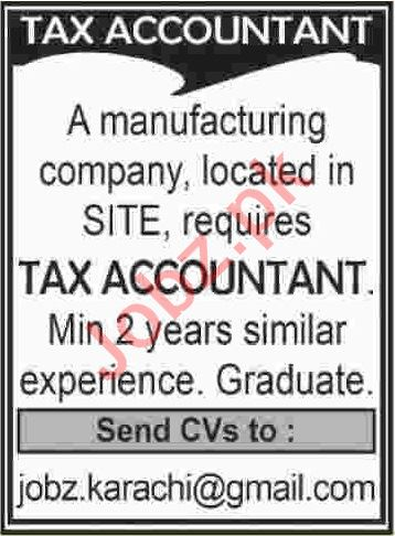 Tax Accountant Jobs 2020 in Karachi