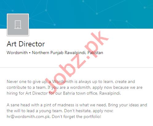 Wordsmith Rawalpindi Job 2020 for Art Director