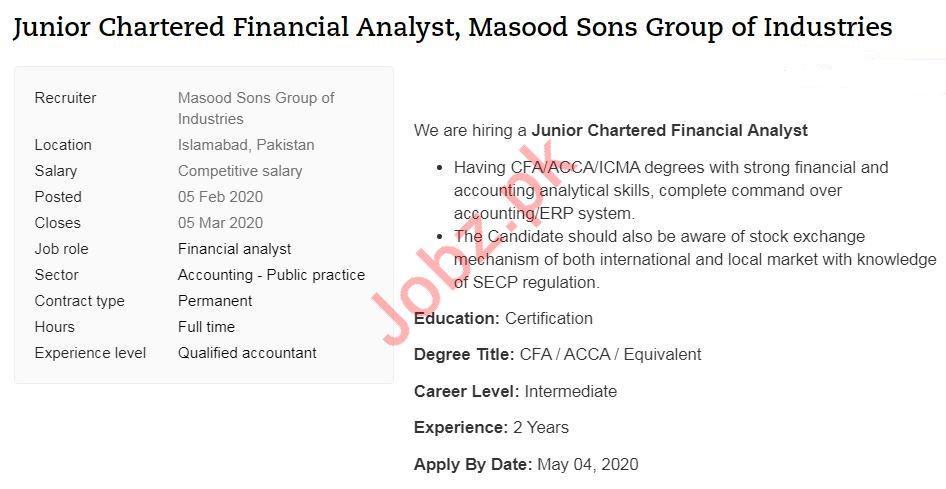Chartered Financial Analyst Jobs in Masood Sons Group