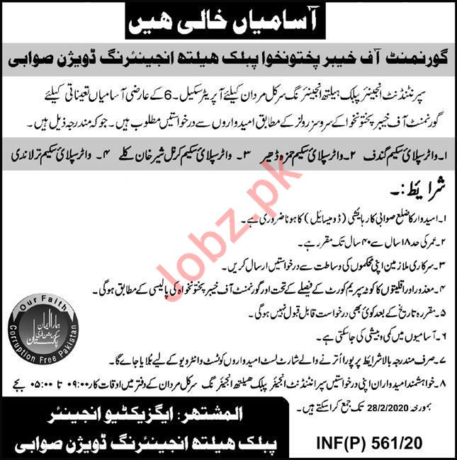 Public Health Engineering Division KpK Operator Jobs 2020