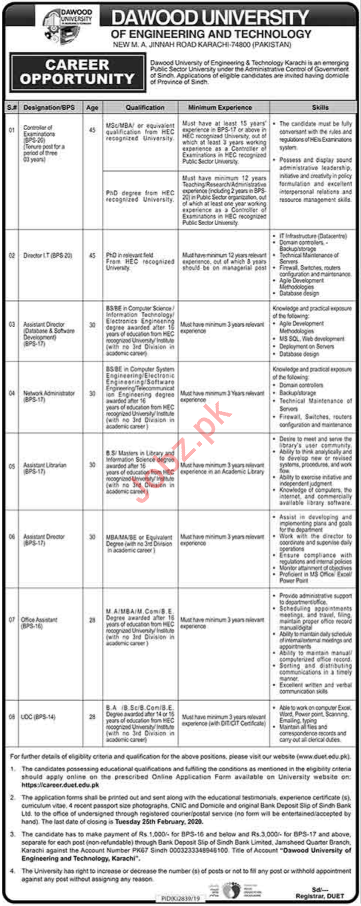 Dawood University of Engineering & Technology DUET Jobs 2020