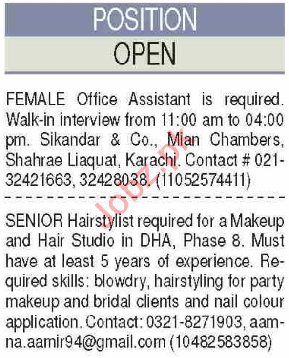 Senior Hair Stylist & Female Office Assistant Jobs 2020
