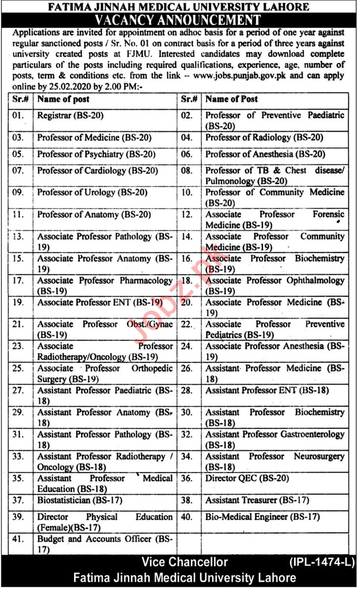 Fatima Jinnah Medical University FJMU Jobs 2020