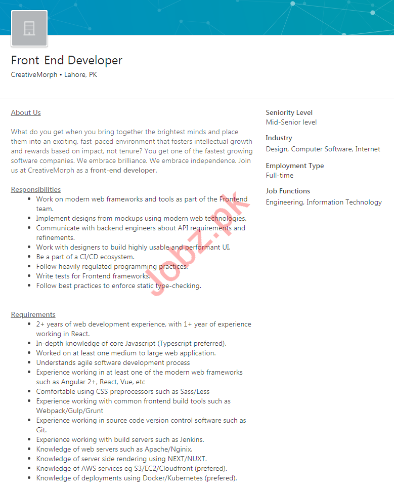 CreativeMorph Lahore Jobs 2020 for Front End Developer