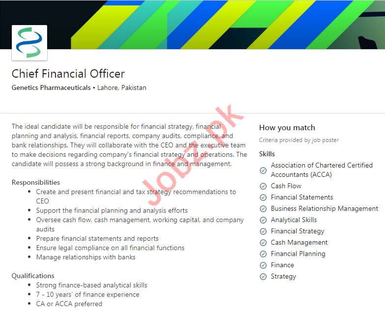 Genetics Pharmaceuticals Lahore Jobs 2020 Financial Officer