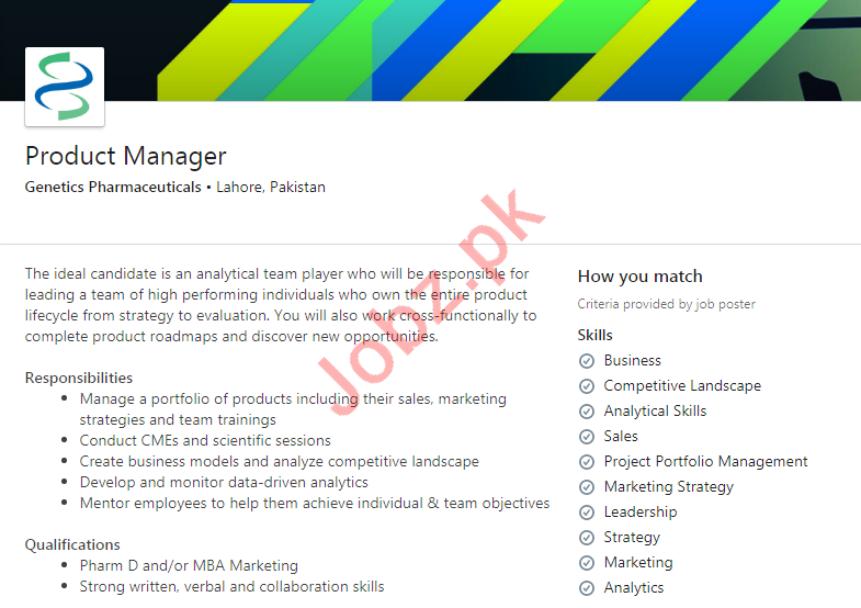 Product Manager Jobs 2020 in Genetics Pharmaceuticals