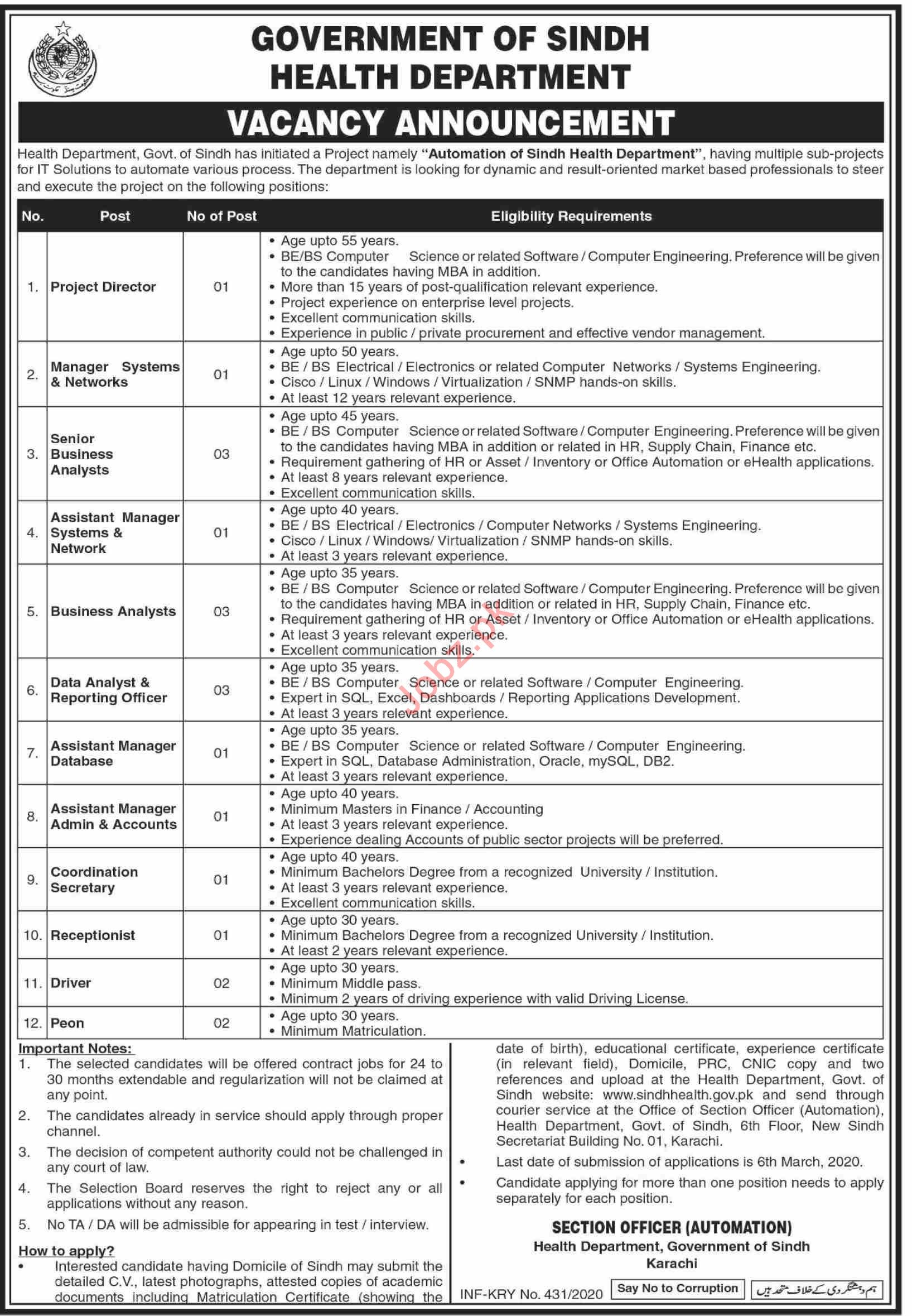 Automation of Health Department Sindh Jobs 2020