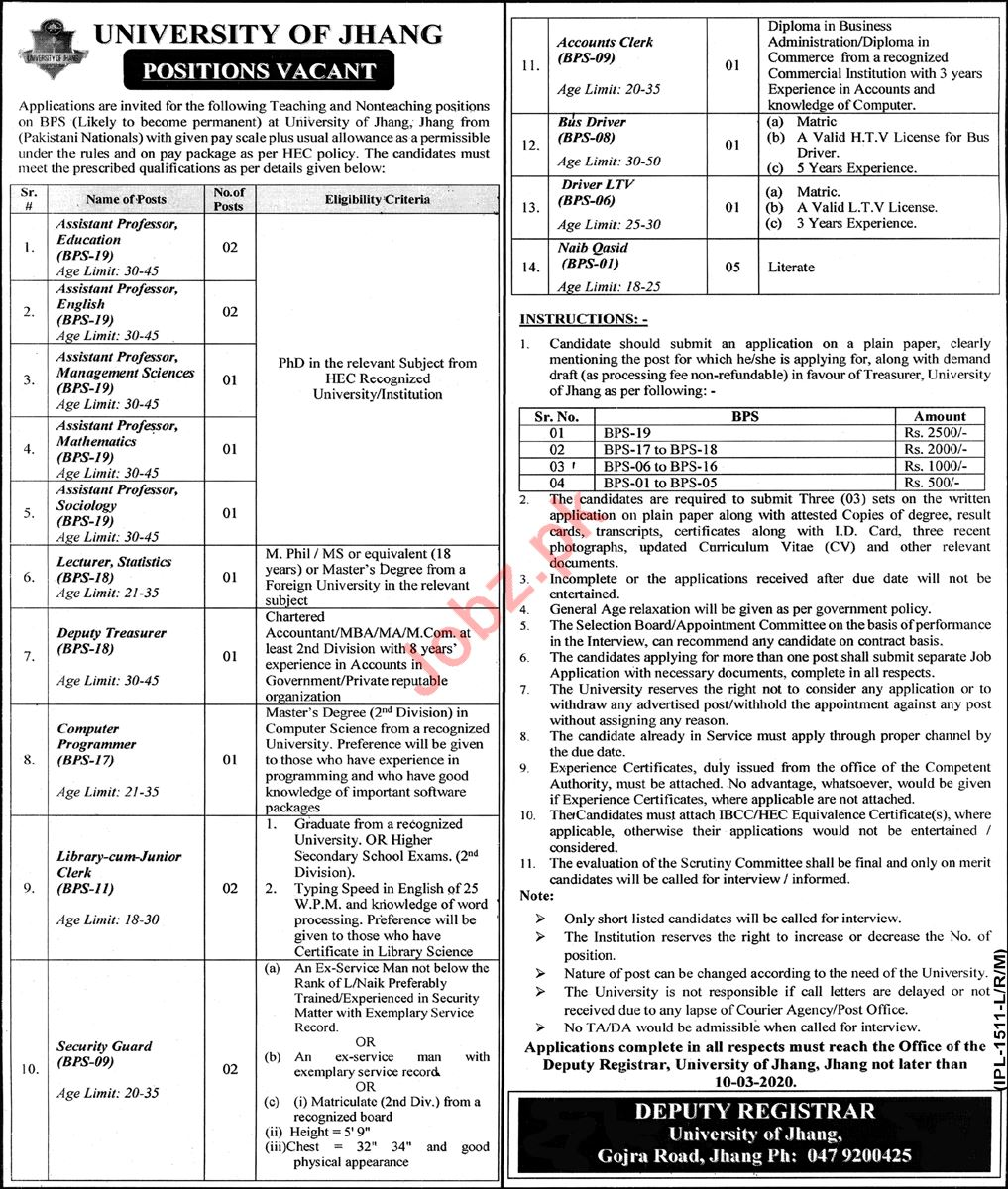 University of Jhang Teaching & Non Teaching Staff Jobs 2020
